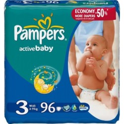 96 Couches Pampers de la gamme Active Baby taille 3 sur Sos Couches