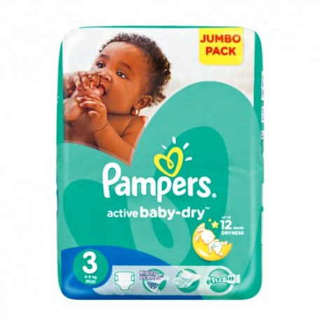 74 Couches Pampers Active Baby Dry taille 3 sur Sos Couches