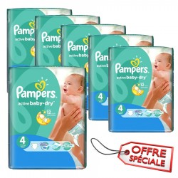 912 Couches de la marque Pampers Active Baby Dry taille 4 sur Sos Couches