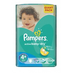 53 Couches Pampers Active Baby Dry taille 4+