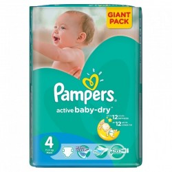 58 Couches Pampers Active Baby Dry de taille 4 sur Sos Couches