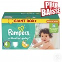 348 Couches Pampers Active Baby Dry taille 4 sur Sos Couches