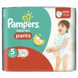 24 Couches Pampers Baby Dry Pants taille 5