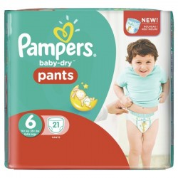 21 Couches Pampers Baby Dry Pants taille 6