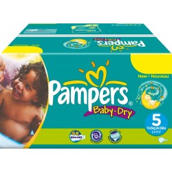164 Couches Pampers Baby Dry taille 5