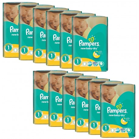 860 Couches Pampers New Baby Dry taille 1 sur Sos Couches