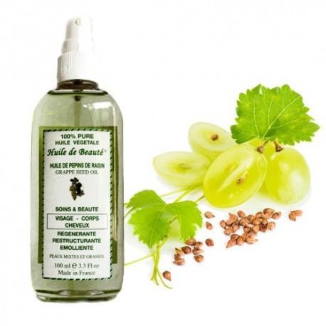 Huile de beauté aux pépins de raisin 100% végétale et pure sur Sos Couches
