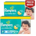 162 Couches Pampers Active Baby Dry taille 4+ sur Sos Couches
