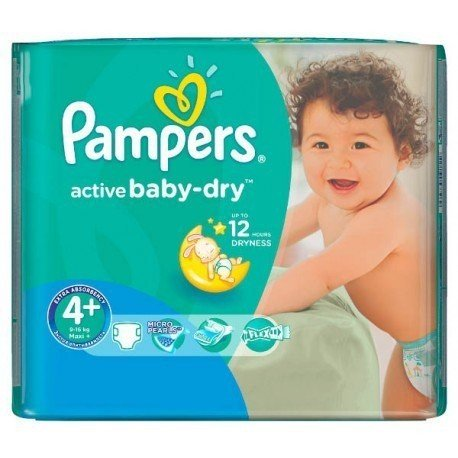 18 Couches Pampers Active Baby Dry taille 4+ sur Sos Couches