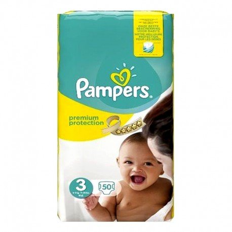 50 Couches Pampers Premium Protection - New Baby taille 3 sur Sos Couches