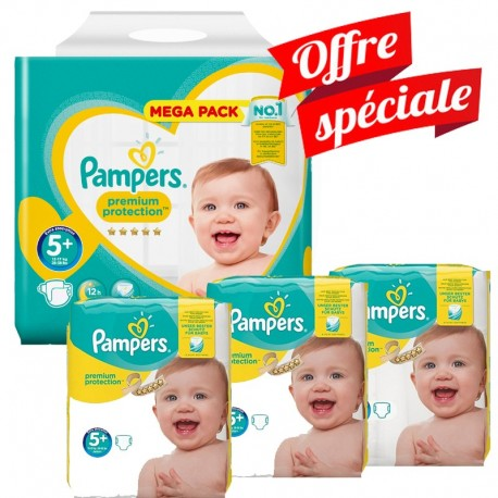 416 Couches Pampers Premium Protection - New Baby taille 5+ sur Sos Couches