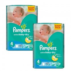270 Couches Pampers Active Baby Dry taille 4
