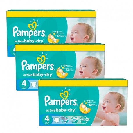 360 Couches Pampers Active Baby Dry taille 4 sur Sos Couches