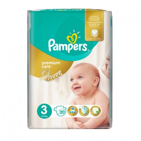 20 Couches Pampers Premium Care - Prima taille 3 sur Sos Couches