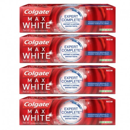 4 Dentifrices Colgate Max White Expert Complete Mild Mint sur Sos Couches