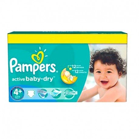96 Couches Pampers Active Baby Dry taille 4+ sur Sos Couches