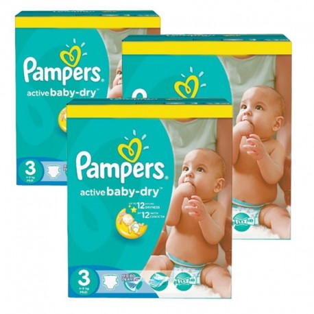 216 Couches Pampers Active Baby Dry taille 3 sur Sos Couches