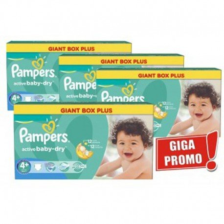 576 Couches Pampers Active Baby Dry taille 4+ sur Sos Couches