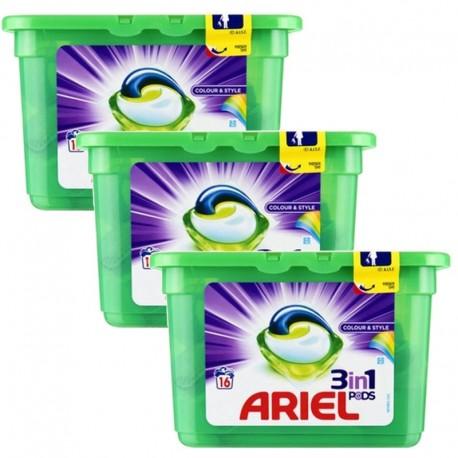 Lot de 3 Ariel Pods 16 Colour & Style 3in1 (432 gr) sur Sos Couches