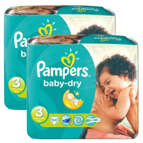 170 Couches Pampers Baby Dry taille 3 sur Sos Couches