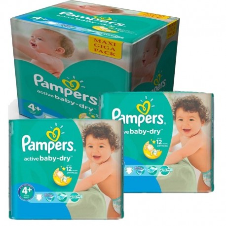 280 Couches Pampers Active Baby Dry taille 4+ sur Sos Couches