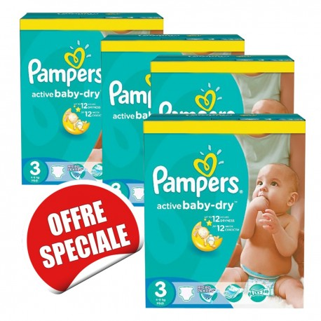 164 Couches Pampers Active Baby Dry taille 3 sur Sos Couches