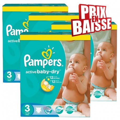 656 Couches Pampers Active Baby Dry taille 3 sur Sos Couches