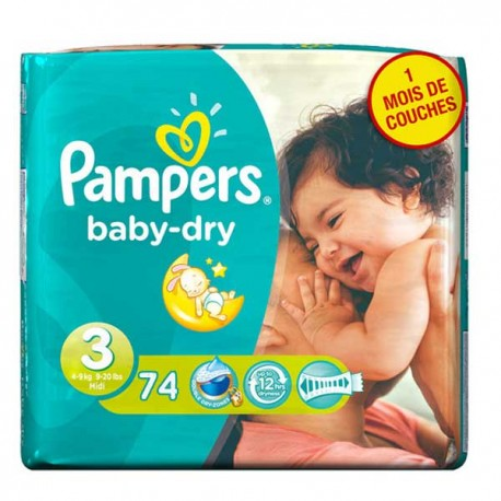 116 Couches Pampers Baby Dry taille 3 sur Sos Couches