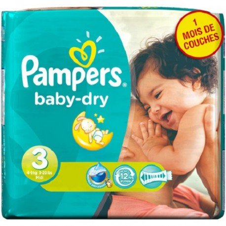 580 Couches Pampers Baby Dry taille 3 sur Sos Couches