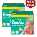 120 Couches Pampers Active Baby Dry taille 3 sur Sos Couches