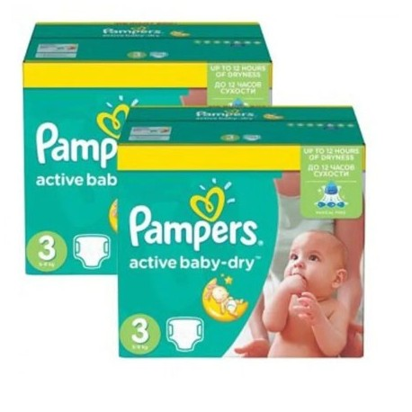 135 Couches Pampers Active Baby Dry taille 3 sur Sos Couches