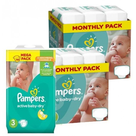 150 Couches Pampers Active Baby Dry taille 3 sur Sos Couches