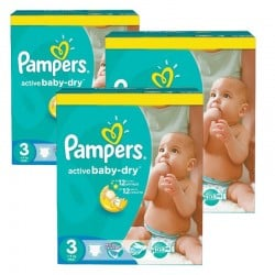 180 Couches Pampers Active Baby Dry taille 3