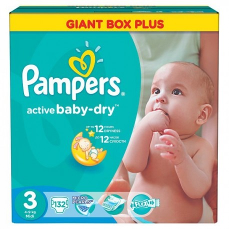 195 Couches Pampers Active Baby Dry taille 3 sur Sos Couches