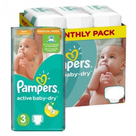 225 Couches Pampers Active Baby Dry taille 3 sur Sos Couches