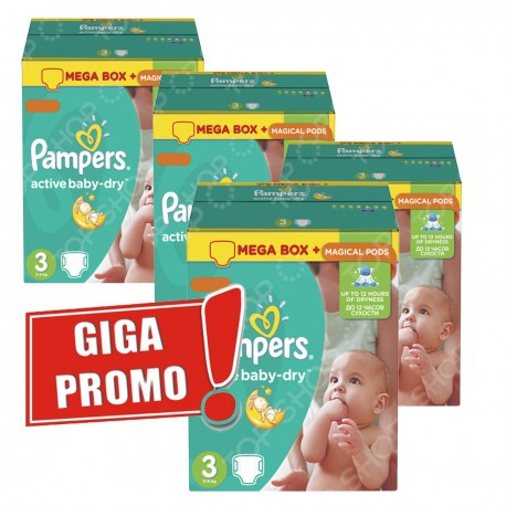 240 Couches Pampers Active Baby Dry taille 3 sur Sos Couches