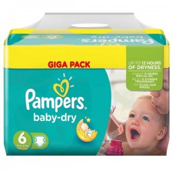 192 Couches Pampers Baby Dry taille 6