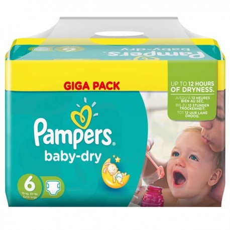 192 Couches Pampers Baby Dry taille 6 sur Sos Couches