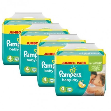 600 Couches Pampers Baby Dry taille 4 sur Sos Couches