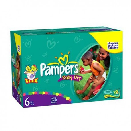 114 Couches Pampers Baby Dry taille 6 sur Sos Couches