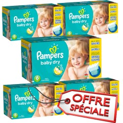 133 Couches Pampers Baby Dry taille 6
