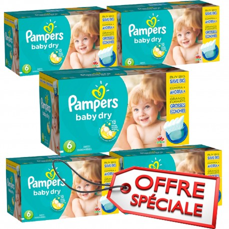 133 Couches Pampers Baby Dry taille 6 sur Sos Couches