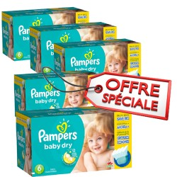 190 Couches Pampers Baby Dry taille 6