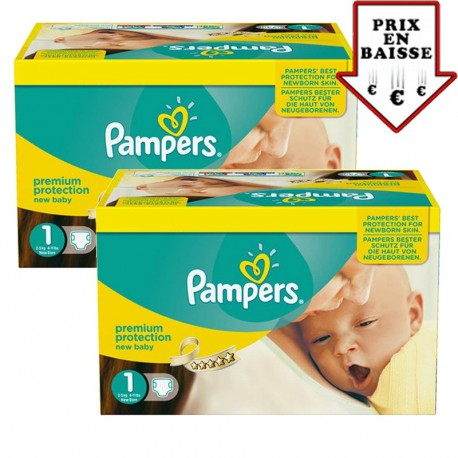 396 Couches Pampers Premium Protection taille 1 sur Sos Couches