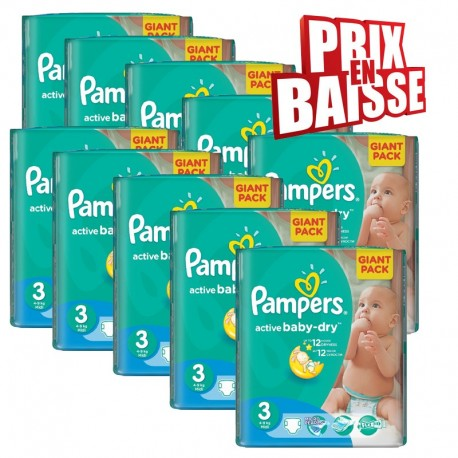 372 Couches Pampers Active Baby Dry taille 3 sur Sos Couches