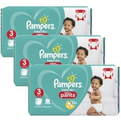 190 Couches Pampers Baby Dry Pants taille 3