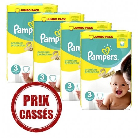 580 Couches Pampers Premium Protection taille 3 sur Sos Couches