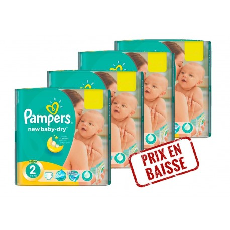 204 Couches Pampers New Baby Dry taille 2 sur Sos Couches