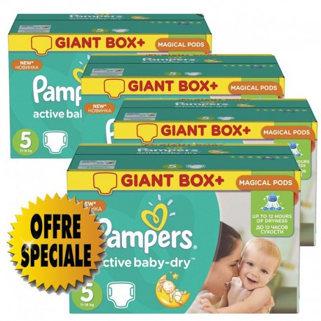 832 Couches Pampers Active Baby Dry taille 5 sur Sos Couches