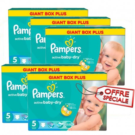 484 Couches Pampers Active Baby Dry taille 5 sur Sos Couches